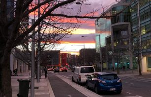 Canberra City Street with Sunset in the background